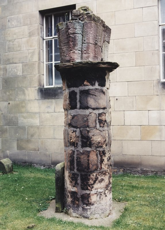 View of remains of column.