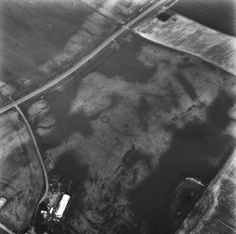 Easter Kinnear, oblique aerial view centred on the cropmarks of an unenclosed settlement, a ring-ditch and enclosures.