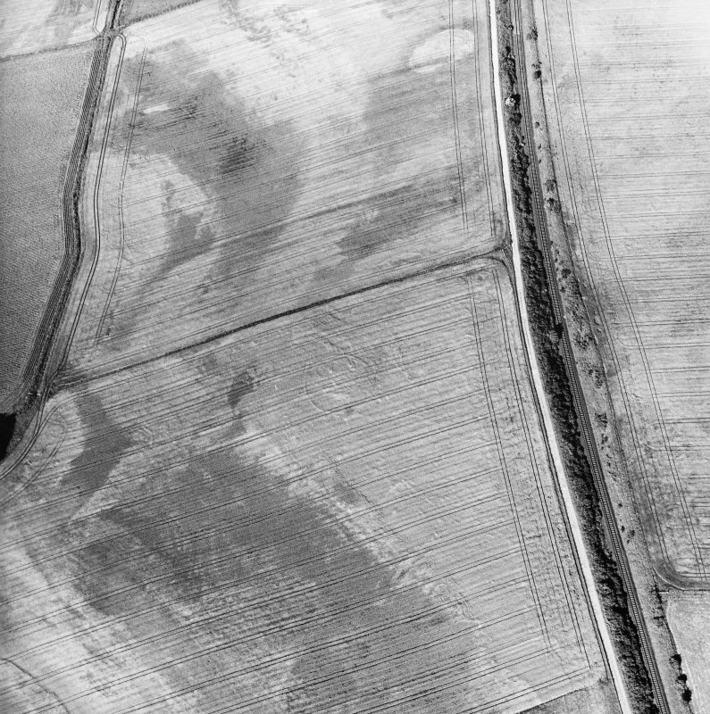 Blackhill, oblique aerial view, taken from the WSW, centred on the cropmark of three palisaded enclosures.