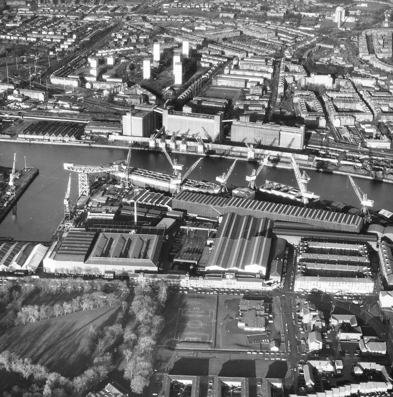 Glasgow, Meadowside Quay, Meadowside Granaries. Oblique aerial view.