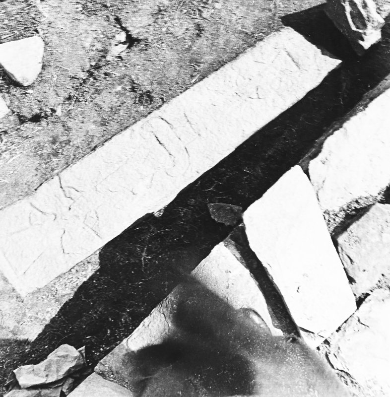 Illus 171 p225 Vesarp Report. Grave stone decorated with double-crosses during the 1930s excavations of area 1 Brough of Birsay from above.
