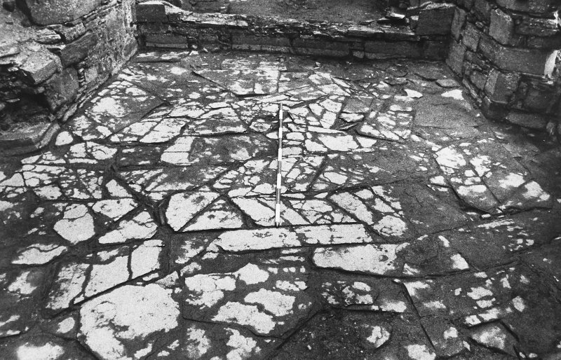 Excavation photograph : west range - room 2 - flag floor after removal of topsoil.