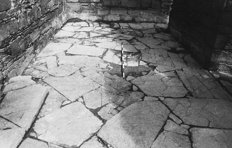 Excavation photograph : west range - room 1 paved floor from south.