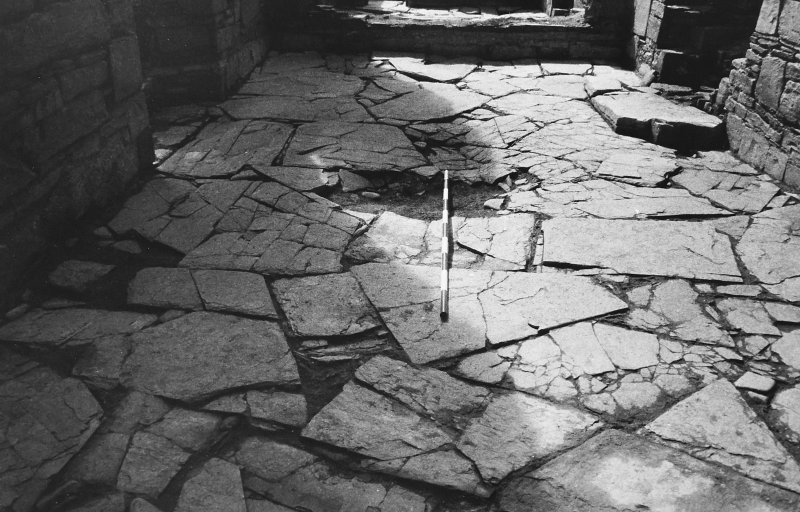 Excavation photograph : west range - room 1 paved floor from north.
