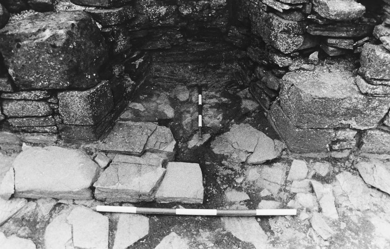 Excavation photograph : west range - room 4 fireplace, from east.