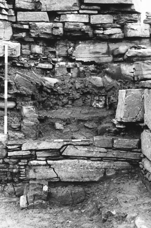 Excavation photograph : east range - room 2 oven excavated, from west.