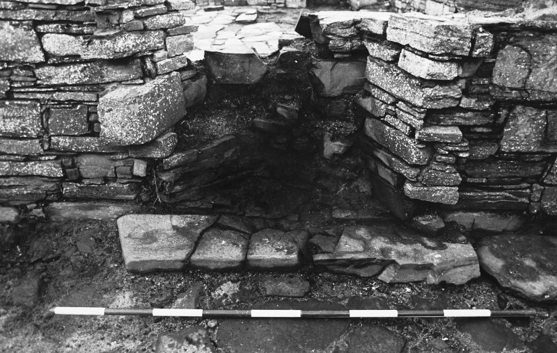 Excavation photograph : south range - room 4 fireplace, from south.