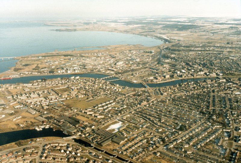 Aerial view of Inverness, looking E.
