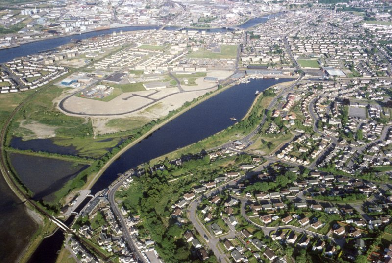 Aerial view of Muirtown Basin, Inverness, looking SE.