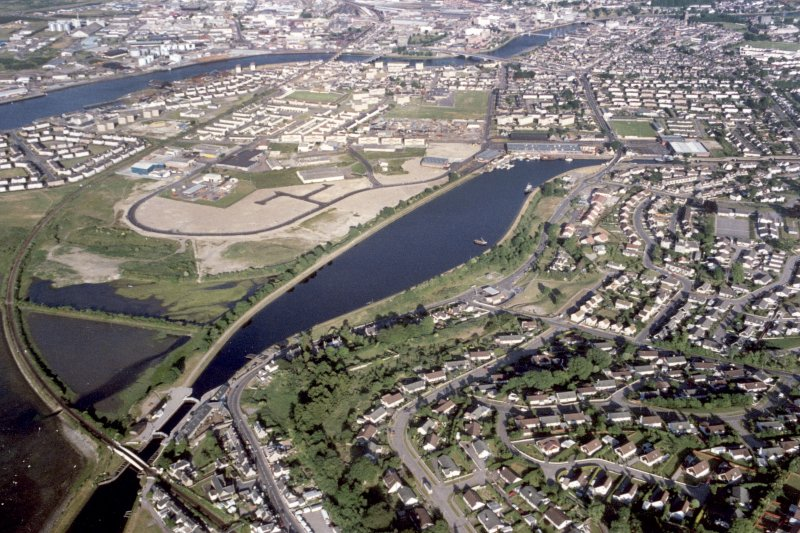 Aerial view of Caledonian Canal, Muirtown Basin, Inverness, looking E.