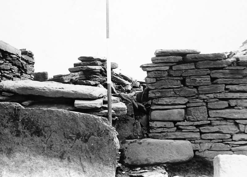 Panoramic of broch walls from interior centre.