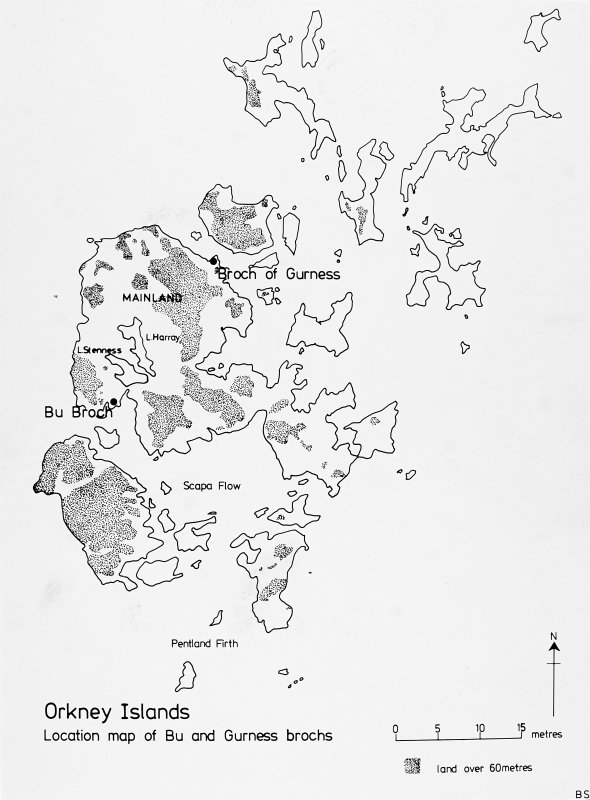 Location map of Bu and Gurness brochs.  BAR Fig.1.1, p1