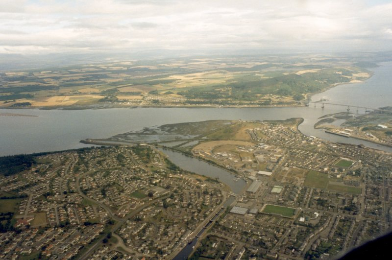 An oblique aerial view of the Caledonian Canal's Muirtown Basin, Inverness, looking N.