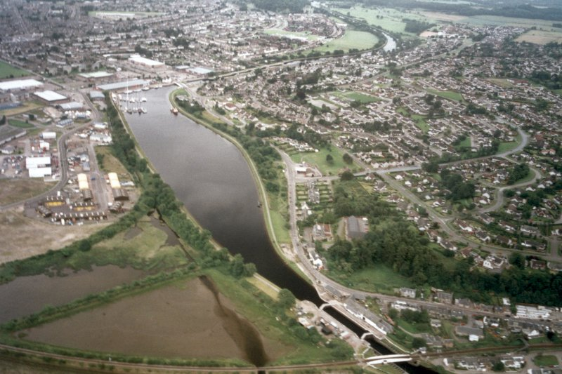 Aerial view of Muirtown basin, Inverness, looking S.