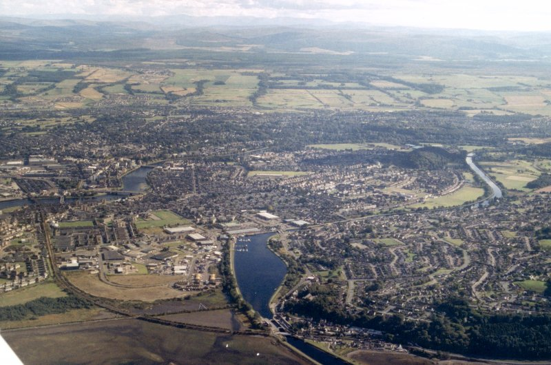 Aerial view of Muirtown Basin, Caledonian Canal, Inverness, looking SE.