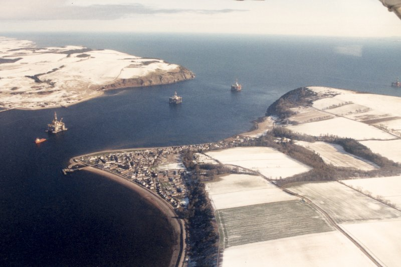 Aerial view of Cromarty with North and South Sutors, Black Isle, looking NE.