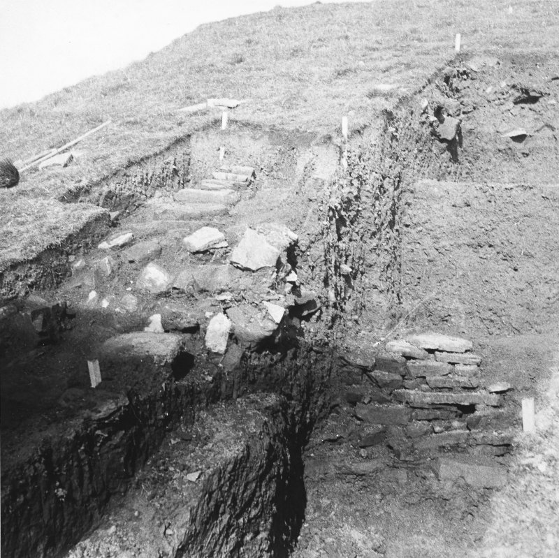 Excavation photograph: Wall A under excavation.