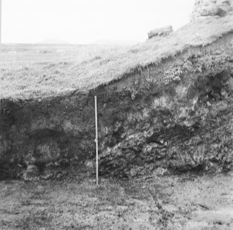 Excavation photograph: Section of mound.