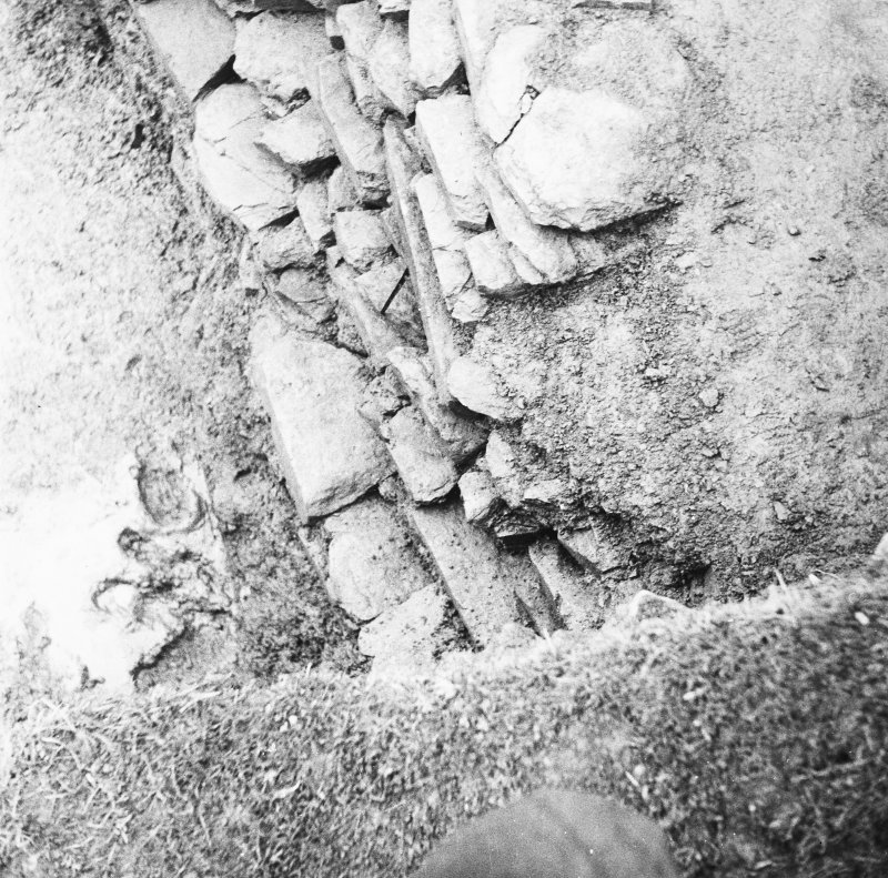 Excavation photograph: Detail of wall.