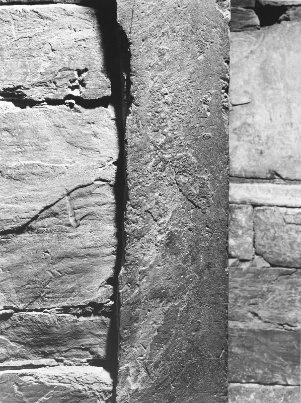 Interior of cairn; runes - detail (centre)