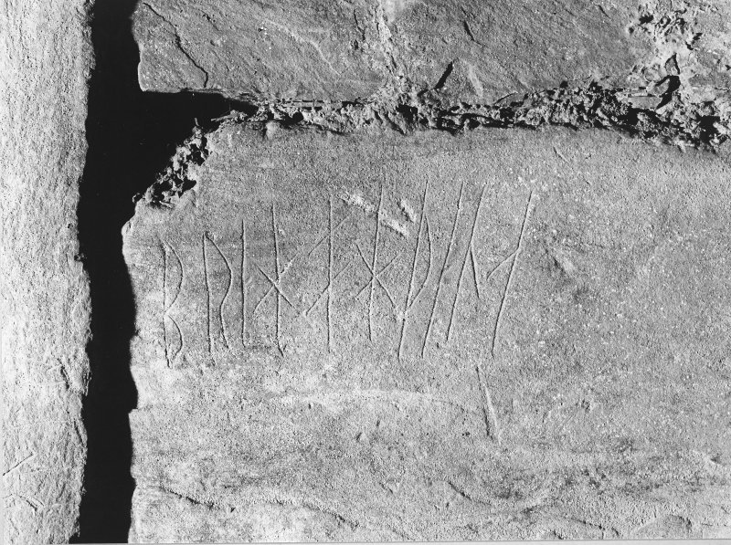 Interior of cairn; runes - on north-west buttress.