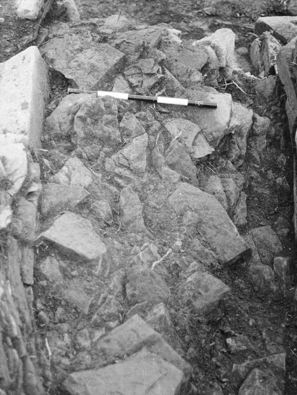 Point of Cott excavation archive Frame 21: Compartment 4, NE, showing collapse before removal of wall 99/98. From E. Frames 22-23: Compartment 4, post-excavation. Frames 24-26: F116, section through t ...