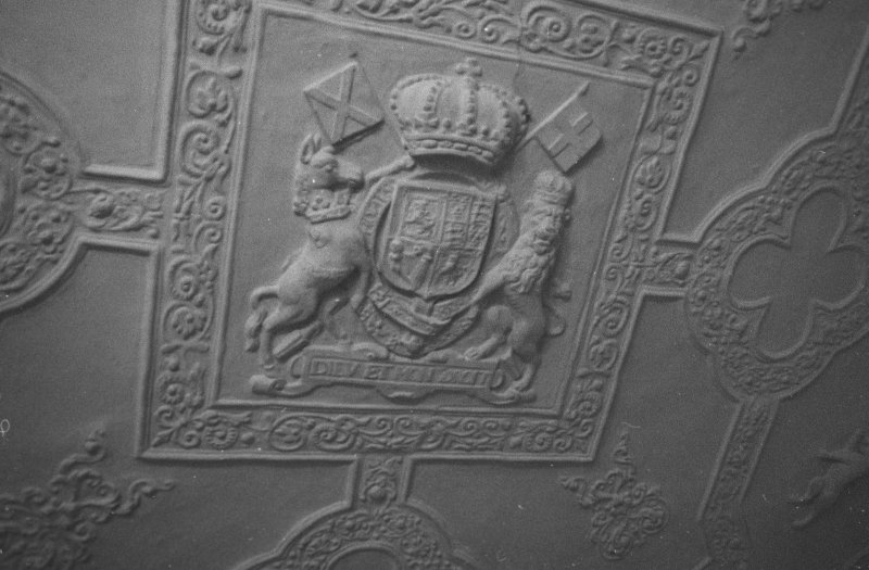 Craufurdland Castle, plaster ceiling with royal arms