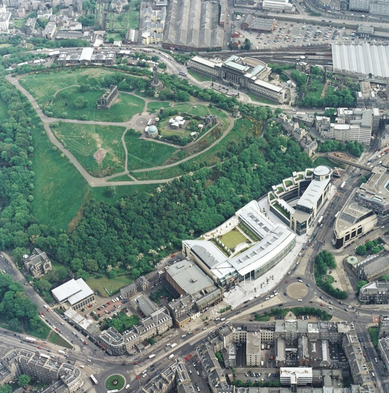 General oblique aerial view showing the Omni Plaza with Calton Hill adjacent, Edinburgh