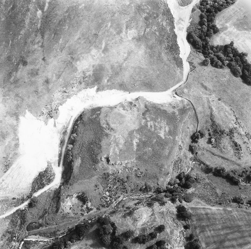 Oblique aerial view showing remains of fort and broch, Perthshire