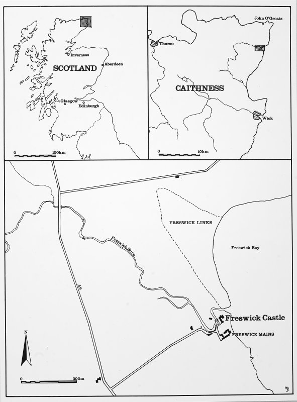 Location maps of Freswick Castle. Glasgow Archaeological Journal, vol. 11 (1984), fig.1.