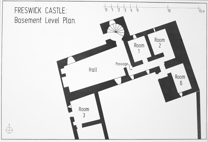 Freswick Castle: Basement Level Plan (2 negatives).  Copy in library.