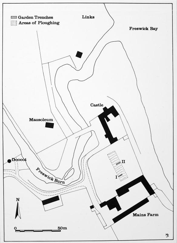 Fig. 2. Location of Garden trenches.  Copy in library.