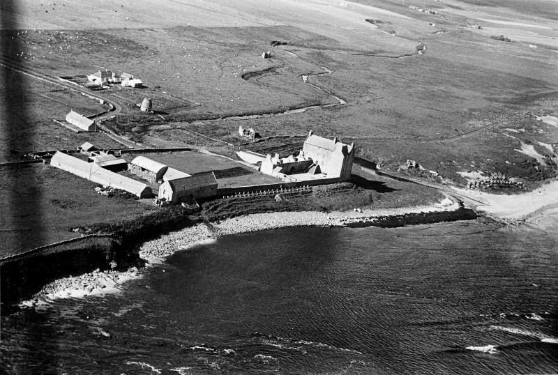 Aerial view showing the castle, bridge, mausoleum and dovecot at Freswick.