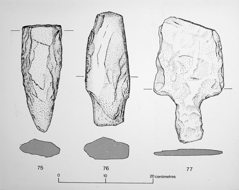 Stone implements. 'Tomb of the Eagles'  Fig.28 Page 153 & BAR illustration 30.