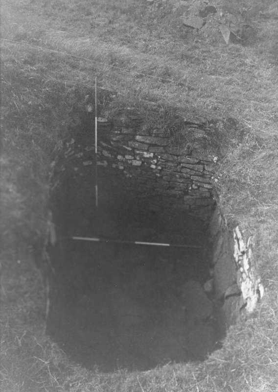 Trench 1, Area B, Sunken chamber, after cleaning.  From East.