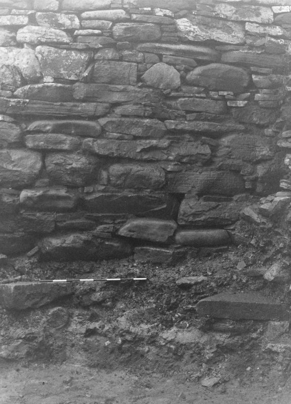 Trench 1, Area B.  Broch wall.  From North.