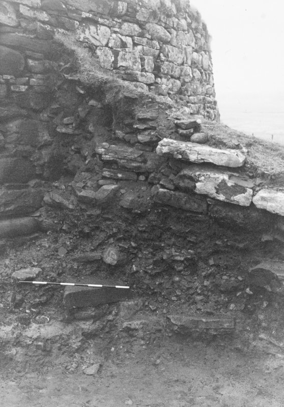 Trench 1, Area B. Junction of West and Broch walls.  From North-East.