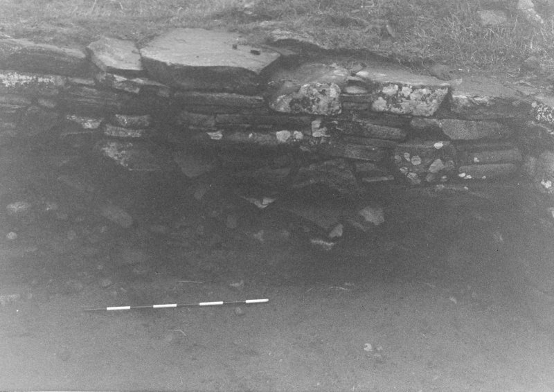 Trench 1, Area B. West wall of outbuilding (North End).  From East.