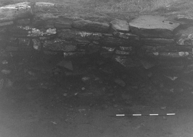 Trench 1, Area B. West wall of outbuilding (Centre)  From East.