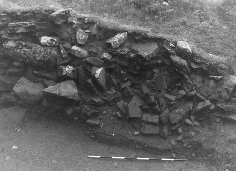Trench 1, Area A. East wall of outbuilding.  From West.