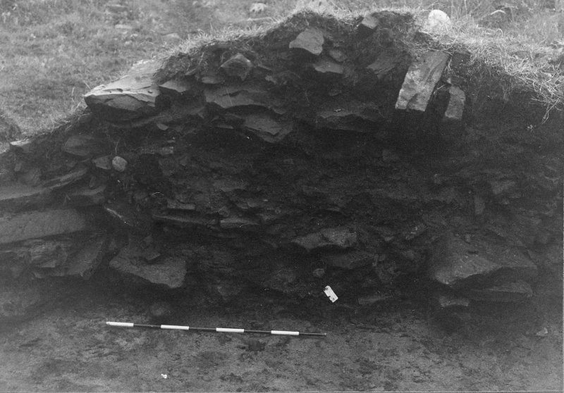 Trench 1, Area A. East wall of outbuilding after romoval of hearth. From West.