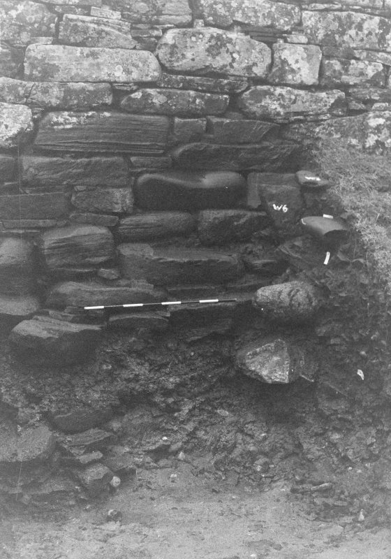 Trench 1, Area A. Broch wall.  From south.