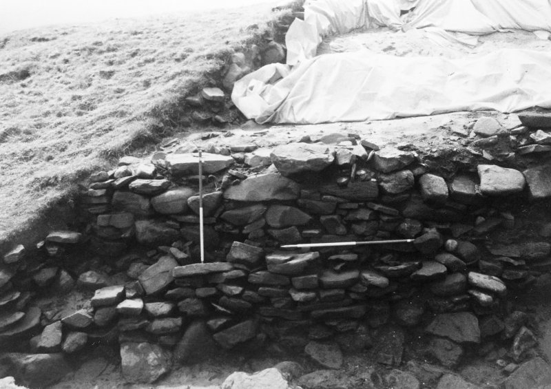 Trench 1,Area A,Extension. Eastern extent of lower walls (features 3 and 4) from North.