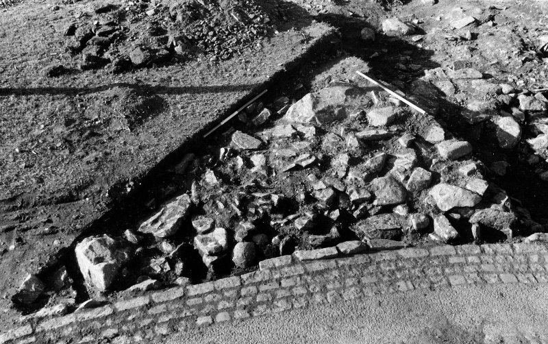 Excavation photograph : southern most portion of stones after removal of 001