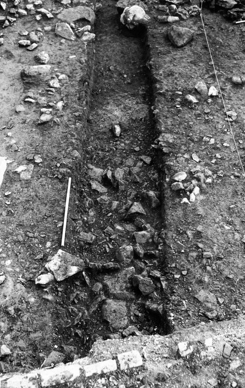 Excavation photograph : lower stones within 1m trench.