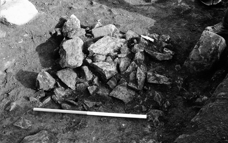 Excavation photograph : east-west linear stone feature.