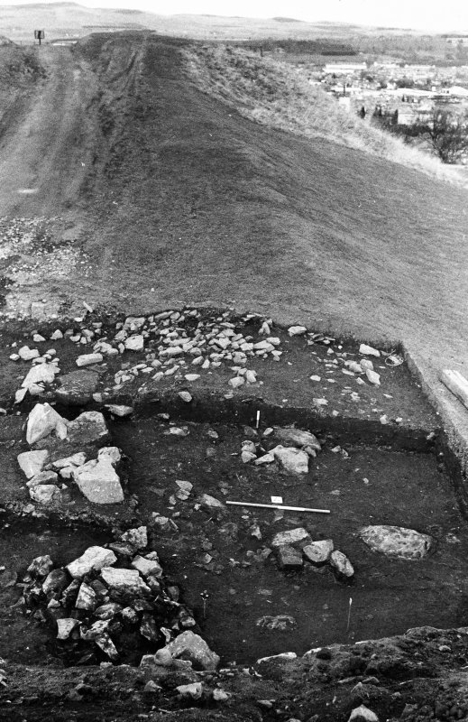 Excavation photograph : east end of trench - rampart/revetment.