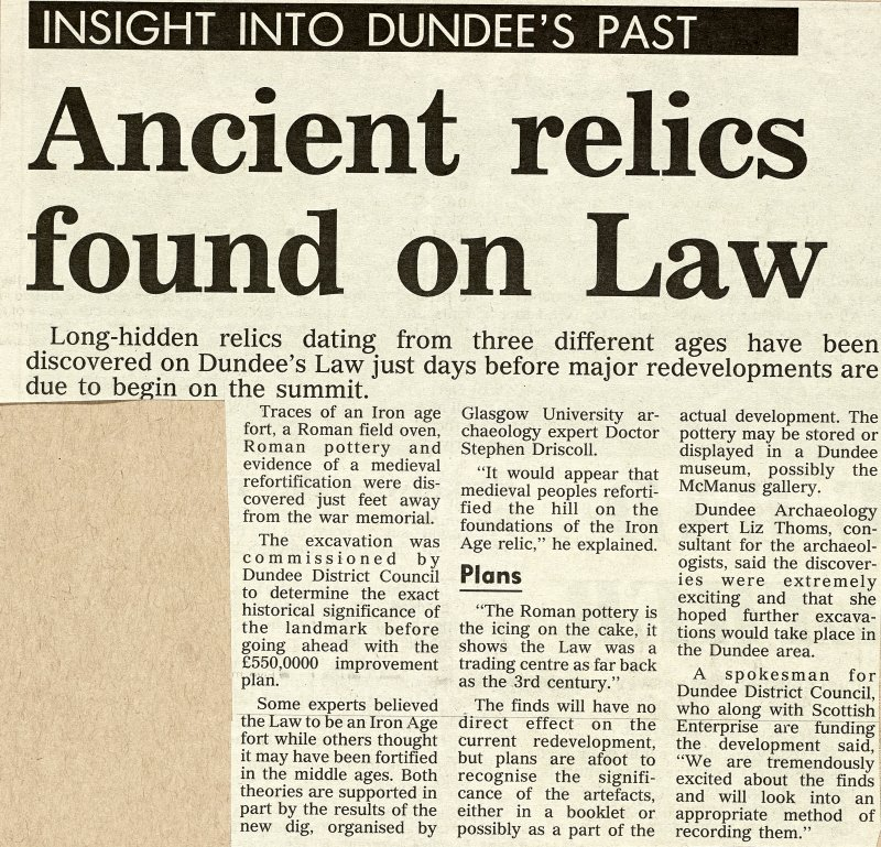 Newscutting from 'Dundee Evening Telegraph' 16 July 1993 regarding excavation.
