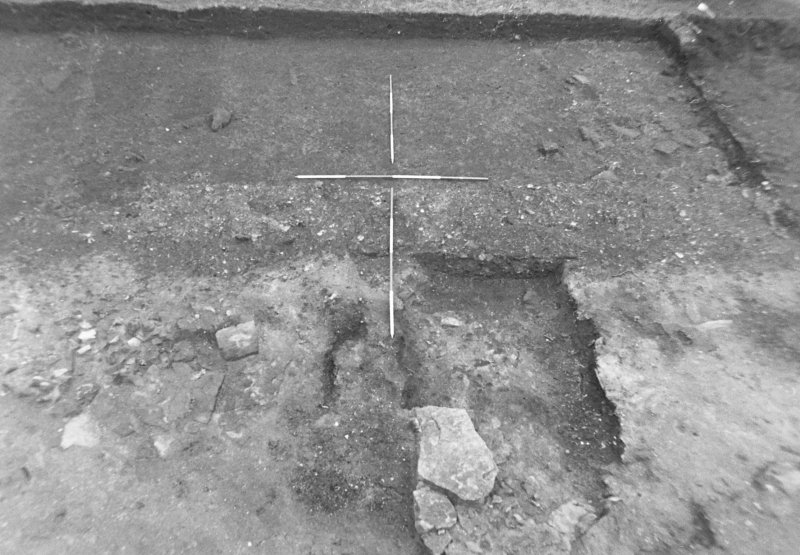 Excavation photograph : trench 2, E/W boundary? wall f158, from S.