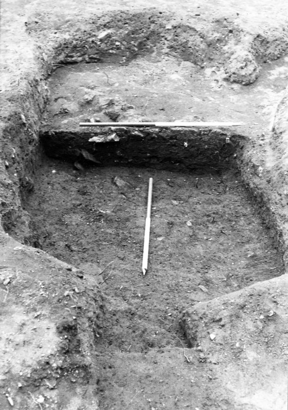 Excavation photograph : trench 2, partial excavation of pit f166, from N.